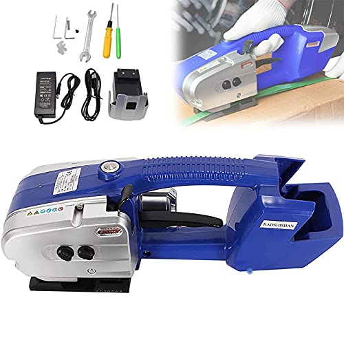 HAOGUO Portable Electric Baler Automatic Plastic Welding Tool Strapping Machine Battery Powered for PP/Plastic Steel Belt Strap - Strapping Width 0.5' - 0.6'