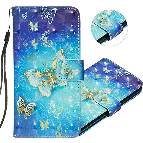 IMEIKONST Samsung S7 Edge Case 3D Creative Pattern Design PU Leather Flip Bookstyle Card Slot Holder Wallet Magnetic Cover Stand Compatible for Samsung Galaxy S7 Edge 3D Gold Blue Butterfly YB