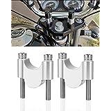 kemimoto ハンドルポスト 30mmアップ ハンドルスペーサー φ28mmバー汎用 ハンドルバー ライザー スタンダード CNC加工 シルバー