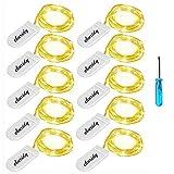 Lichterkette 10 Stück LED Micro Lichterkette Drahtlichterkette Batterie-betrieben Silberdraht...