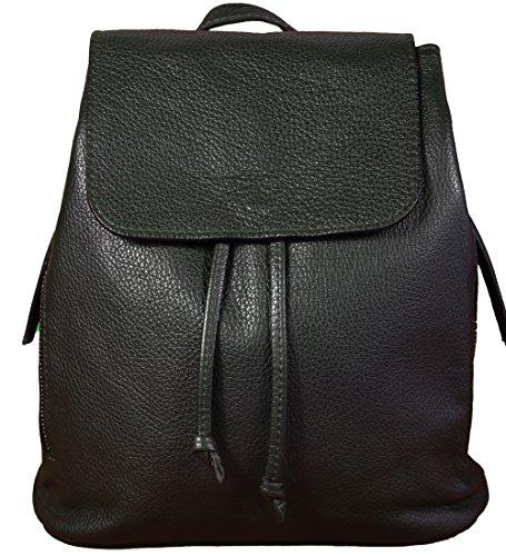 Ital. Echtleder Damen Rucksack Leichter Tagesrucksack Daypack Lederrucksack Damenrucksack versch. Farben erhältlich(Schwarz)