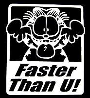 【並行輸入品】カッティングステッカー【Faster Than U with Garfield】カラー:イエロー ガーフィールドユニークステッカーデカール転写ステッカー 全2色有(ホワイト/イエロー)