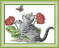 クロスステッチ刺繍キット 図柄印刷 初心者 ホームの装飾 刺繍糸 針 布 11CT Cross Stitch ホームの装飾 子猫と蝶 40x50cm