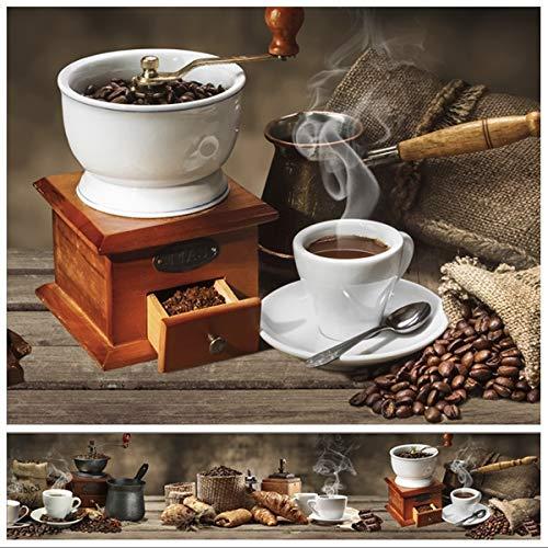 Rodnik Küchenrückwand - 60 x 300 cm - Verschiedene Designs - Spritzschutz - 1,6mm - kein Aufkleber - ABS Kunststoff - Wandverkleidung (Kaffee und Croissant) SK35