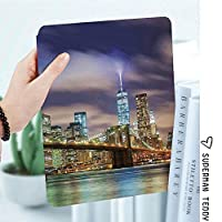 IPadケース スマートカバー アイパッドケース タブレットカバー アイパッド第四世代 第三世代 ニューヨークのブルックリン橋と塔の光とマンハッタンのスカイライン