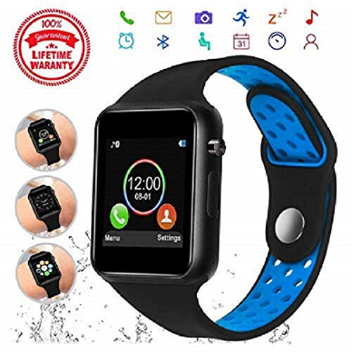 PLYSIN Smart Watch Kkcite Bluetooth Touch Screen SmartWatch Unlock Cell Phone SIM 2G GSM with Camera Sleep Monitor, Black