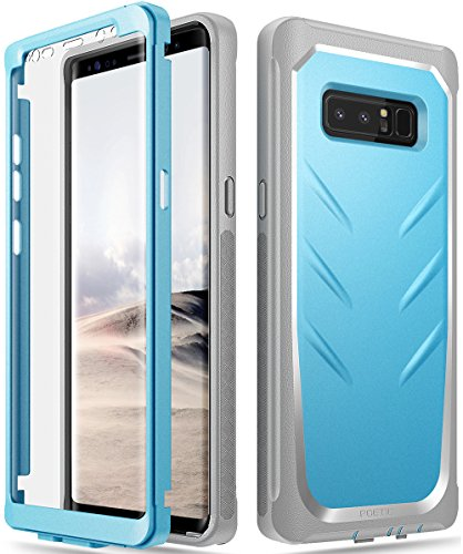 Galaxy Note 8 Case, Poetic Revolution [360 Degree Protection] Full-Body Rugged Heavy Duty Case with [Built-in-Screen Protector] for Samsung Galaxy Note 8 (2017) Blue/Gray