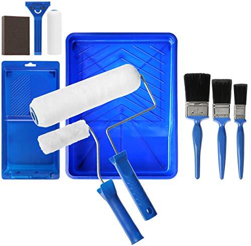 com-four® 12-teiliges komplettes Maler-Set - Starter-Kit Pinsel, Farbroller und Zubehör für dekorative Renovierungs- und Malerarbeiten