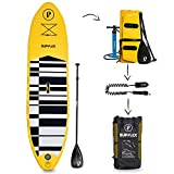 Supflex Paddle Boards All-Around 10' Inflatable SUP Package (6' Thick) - Board, Pump, Paddle, Bag & Leash (Yellow)