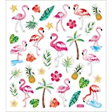 Aufkleber Flamingos, Bogen 15x16,5 cm, ca. 37 Stück, Flamingo, 1 Bogen