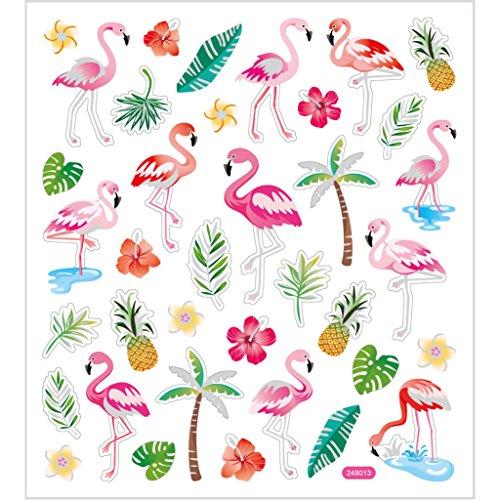 Aufkleber Flamingos, Bogen 15x16,5 cm, ca. 37 Stück, Flamingo, 1 Blatt