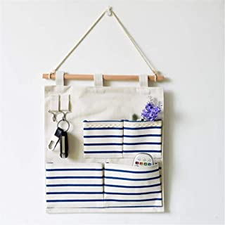 Storage hanging bag Storage Hanging Bag nbsp  Home Cotton And Linen Wall Storage Bag Multi-layer Storage Bag Hanging Door Rear Pendant Door Hanging Organizer Color Blue Size 50cm 35cm