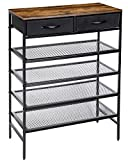 Kamiler Industrial Shoe Rack with Drawers, Metal Shoes Bench Storage 4 Tiers Mesh Shelves,Entryway Table for Hallway,Living Room