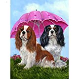 ZFSDD 5D Diamond Painting Mosaic Cross Stitch Cavalier King Charles Spaniel Dog Pattern Embroidery Cute pet Puppy Round Diamond 40x50cm