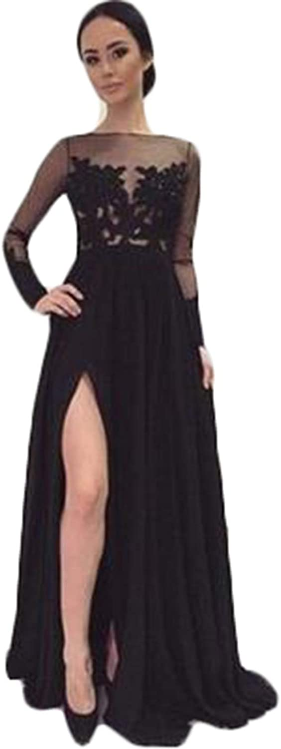 Women's Sexy Illusions Long Sleeve Lace Prom Dresses 2019 Black ALine Slit Evening Formal Ball Gowns