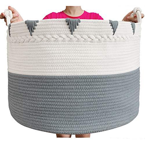 TerriTrophy Cotton Rope Blanket Basket
