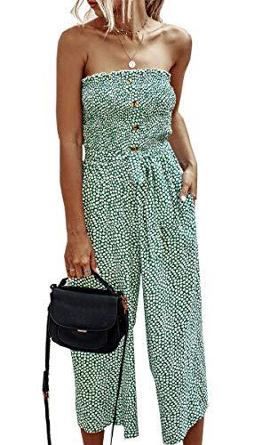 Angashion Women's Jumpsuit-Casual Off Shoulder Sleeveless Ruffle Button Belt Wide Leg Jumpsuits Rompers Summer Green M