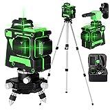 Kecheer Niveles láser con tripode 12 líneas,Nivel laser autonivelante 360 grados,Láseres de línea verde autonivelación