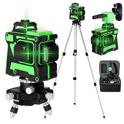 Kecheer Livello laser autolivellante 360 con treppiedi,Livella laser 30m,Generatori di linea laser 12 linee