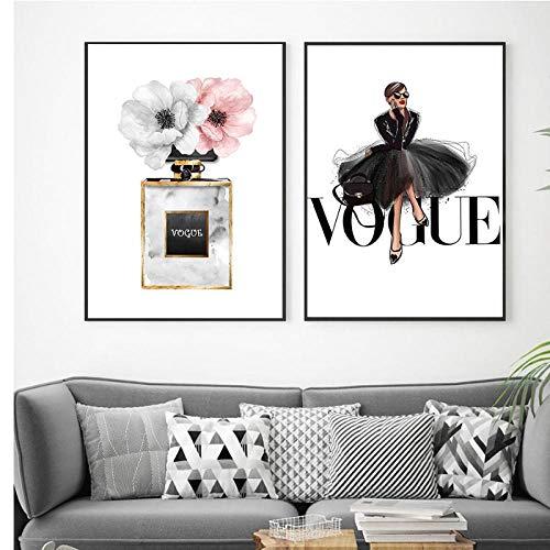 Terilizi Mode zwarte jurk canvas poster Nordic muurkunst parfum met bloemenprint schilderij decoratie afbeelding wooncultuur 50 x 70 cm x 2 geen lijst