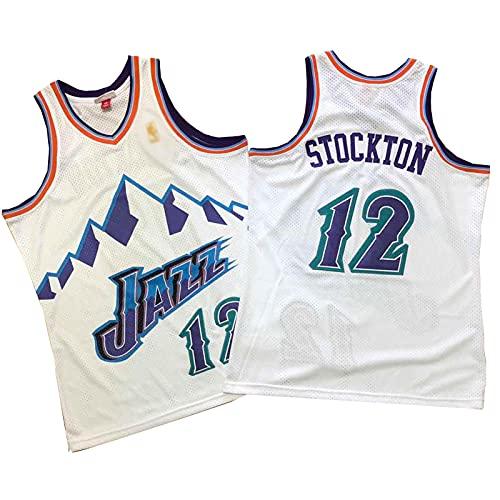 ZRBP # 12 Jazz Stockton Uniformes De Baloncesto para Hombres, Uniformes De Equipos, Camisetas Deportivas, Chalecos, Camisetas Sin Mangas, Letras Y Números Personalizados M