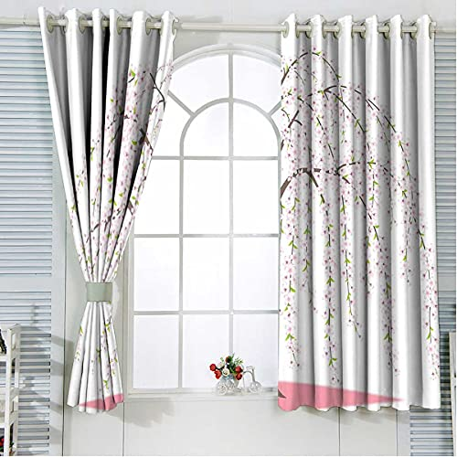 Bedroom Blackout Curtains 72 Inches Length, Flowers Oriental Window Curtains for Bedroom and Living Room 2 Panels Set 84 x 72 Inch
