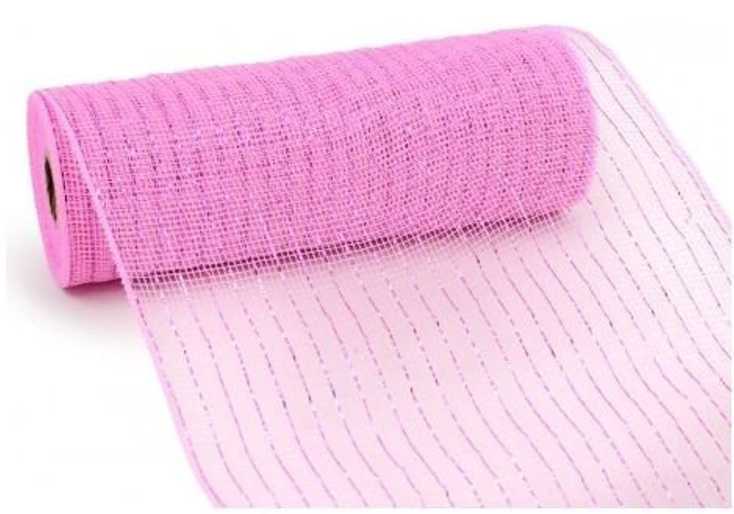 10 inch x 30 feet Deco Poly Mesh Ribbon - Pink Foil : RE130122