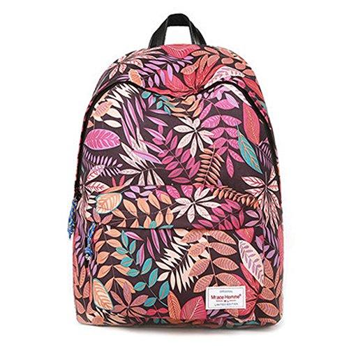 Durable Leaf Pattern School Bag Laptop Shoulder Bag Travel Backpack,Purple