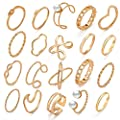 10 Pcs Vintage Knuckle Stackable Rings Set for Women, Bohemian Gold/Silver Plated Comfort Fit VSCO Wave Joint Finger Rings Gift (Pearl + Wave Gold)