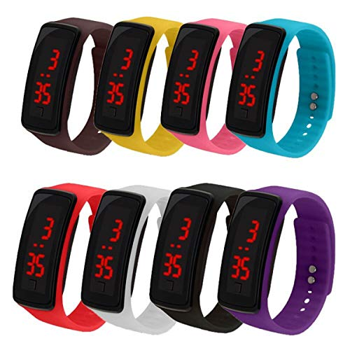 CdyBox 8 Pack Wholesale Men Women Digital Wristwatch Touch Screen LED Bracelet Silicone Band Watch