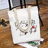 ZoraQ Exorcismo femenino Canvas Shoulder Bag Simple File Shopping Handbag (Blanco)