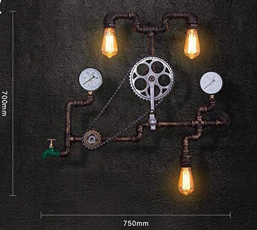 Wandlamp van ijzeren buizen, vintage-stijl, wandlamp van ijzer, antiek, Edison-gloeilamp, zee_chart