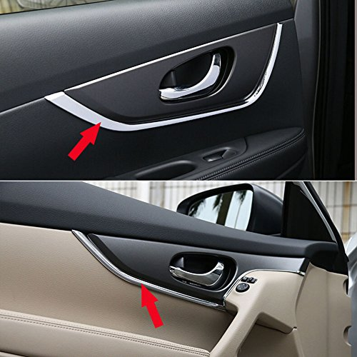 Generic Interior Door Handle Decorative Cover Trim Fit For Nissan X-Trail Rogue 2014 2015 2016 2017