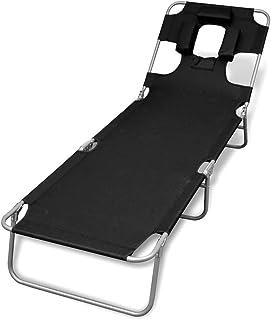 vidaXL Folding Sunlounger with Head Cushion Adjustable Backrest Black Daybed