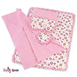 Emily Rose 18 Inch Doll Clothes Accessories for American Girl Dolls | Reversible Floral Print Doll Bedding 5 Piece Set | Fits 18' Our Generation and Journey Girls Dolls