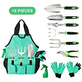 Aladom Garden Tools Set 10 Pieces, Gardening Kit with Heavy Duty Aluminum Hand Tool and Digging Claw Gardening Gloves...