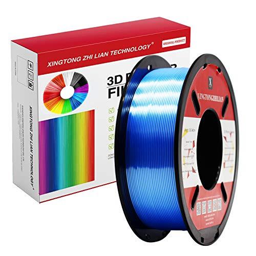 PLA Filament 1.75mm, 3D Printing PLA Filament for 3D Printer and 3D Pen, Marble Look PLA filament,Silk Look PLA Filament, Dimensional Accuracy +/- 0.02mm,750g 1 Spool (Silk blue, 750g-Silk PLA)