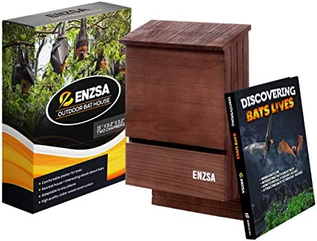 ENZSA Premium Outdoor Bat House with Large Double Chamber Cedar Wood Solid Shelter for Bats product image
