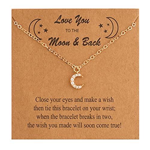 Branets - Collana con ciondolo a forma di luna, in oro 14 carati, con zirconi intrecciati, per donne e ragazze