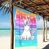Ahomy Serviette de plage en microfibre à rayures, aquarelle, arc-en-ciel, licorne, cœur, séchage rapide, léger, grande serviette de bain, 94 x 188 cm