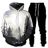 DREAMING-Camiseta de manga larga + pantalones con piernas ropa deportiva Conjunto de 2 piezas de suéter y pantalones casuales sueltos con capucha de impresión 3D para amantes XL