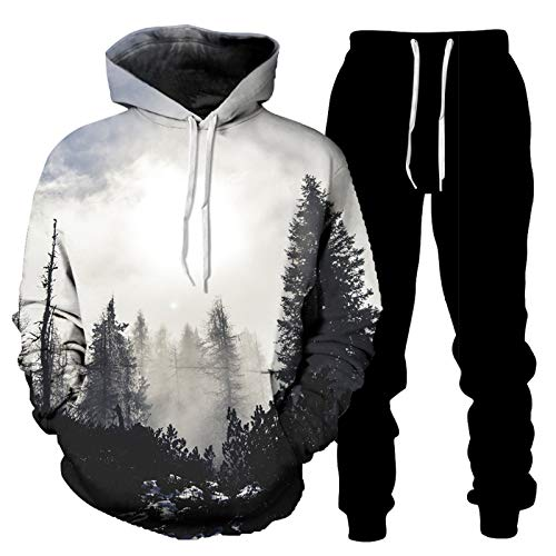 DREAMING-Camiseta de manga larga + pantalones con piernas ropa deportiva Conjunto de 2 piezas de suéter y pantalones casuales sueltos con capucha de impresión 3D para amantes 3XL