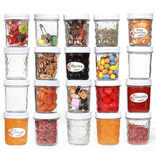 megusta!® Einmachgläser mit Deckel, 200 ml, 20er Set + 20 Etiketten, klares Glas Deckel weiß, Marmeladengläser klein, Gewürzgläser, Dessertschalen, Badezimmer Aufbewahrung