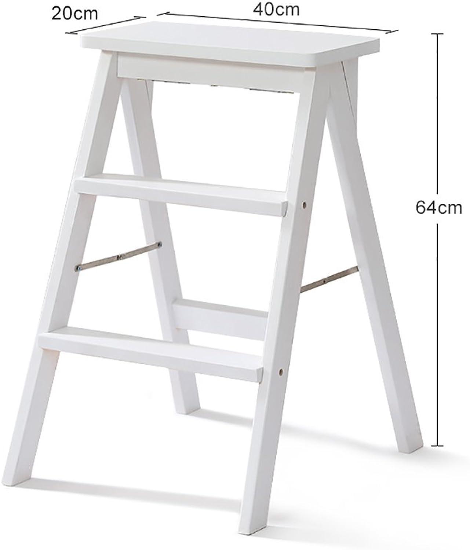 Hai Yan Portable Step Stool Wooden Household Ladder - Modern Simple Portable Step Stool, Multi-Functional Creative Stool 64cm High (color   C, Size   1 )