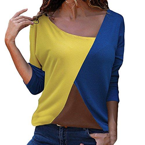ZODOF Mujer Sudaderas Manga Larga Bloque de Color Blusa Casual Sudadera Camiseta Top Deporte Fashion Women Casual Patchwork Color Block O-Neck Long Sleeve T-Shirt Blouse Top