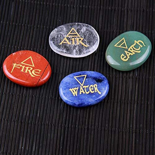 Natuurlijke Kwarts Chakra Palm Steen Kristal Gegraveerde Element Symbolen Reiki Healing Set Lucht Water Vuur Aarde Gratis Zakje, Bergkristal 1 stuk