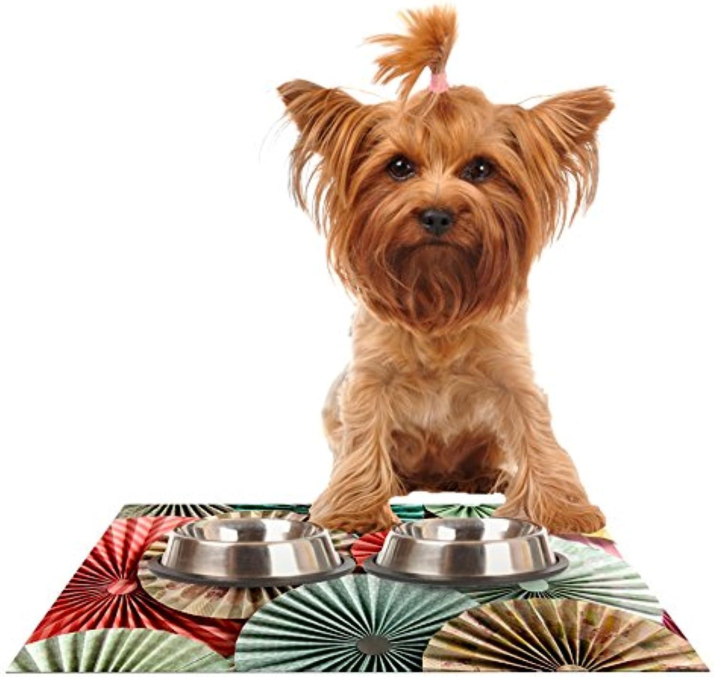 KESS InHouse Heidi Jennings Sherbert  Teal Brown Feeding Mat for Pet Bowls, 24 by 15Inch
