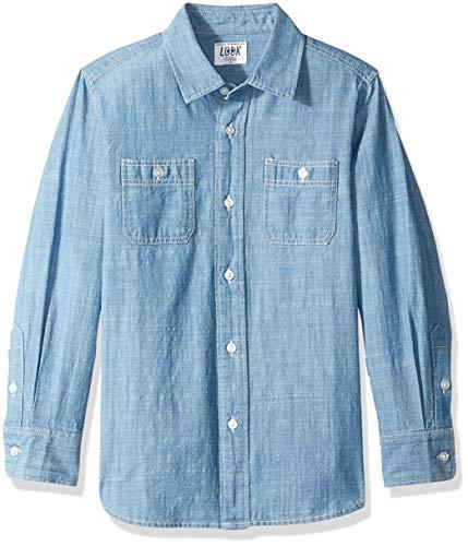 LOOK by Crewcuts - Camiseta de manga larga de cambray para niños, Azul marino (LIGHT WASH BLUE), 4-5