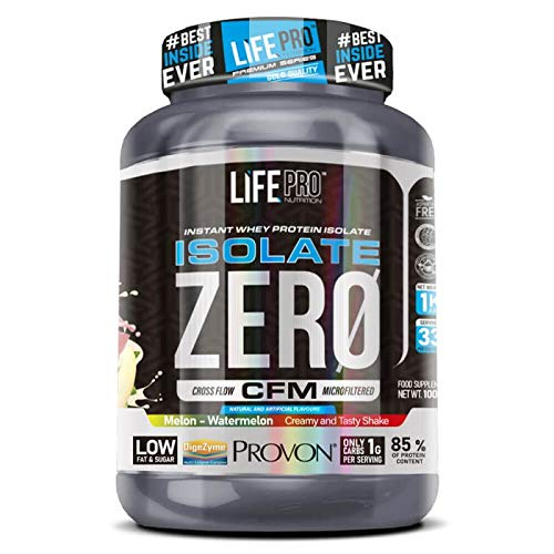 Life Pro Isolate Zero 1Kg | Suplemento Deportivo de Proteína de Suero Aislada, Suplemento Proteísnas para Mejora y Crecimiento del Sistema Muscular, Aumenta Resistencia, Sabor Melon Watermelon, 1 kg