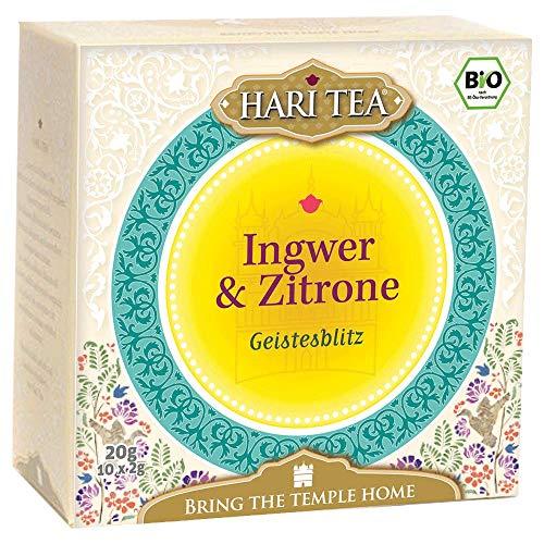 6 x Hari Tea Bio Ingwer und Zitrone| Geistesblitz | Kräuter- und Gewürztee in Baumwollbeutel | 10 feine Tees zum Genießen | Bio Tee | 6er Pack = 60 Teebeutel